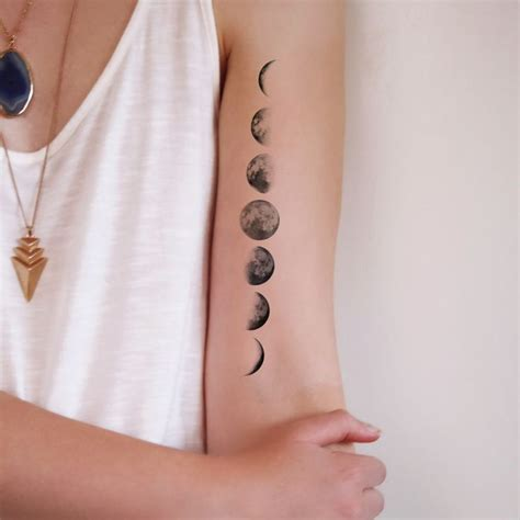 small hidden tattoo ideas moon phase temporary moon phase temporary