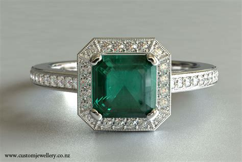 square emerald cut emerald and engagement ring