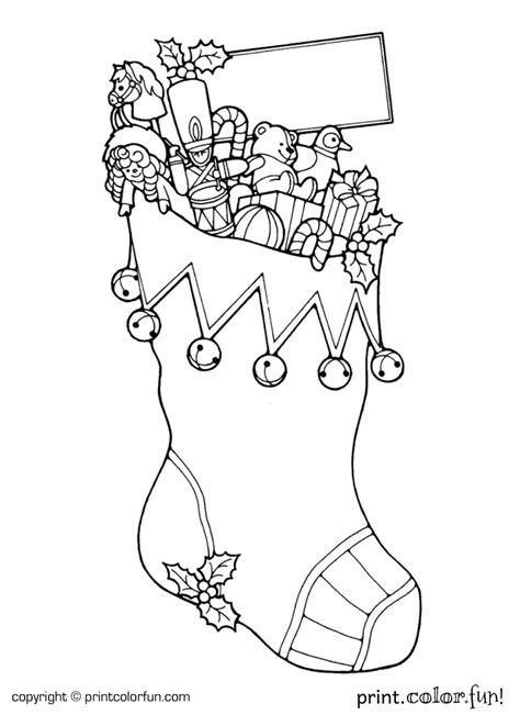 christmas stocking coloring page print color fun