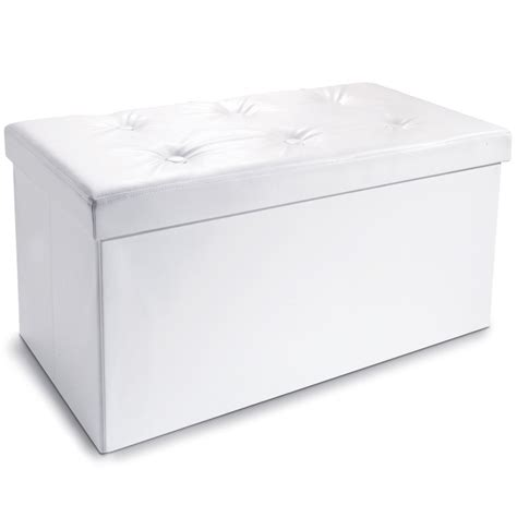 Banc Coffre De Rangement Blanc by Banc Coffre Rangement Pvc Blanc 100x38x38 Cm Pliable