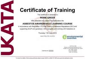 Asbestos Awareness Certificate Template Ukata Certified Asbestos Awareness Training Online Course