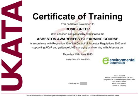 asbestos awareness certificate template ukata certified asbestos awareness course