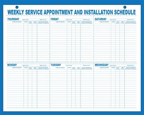 Weekly Appointment Schedule Pads, Auto Dealer Supply, Car