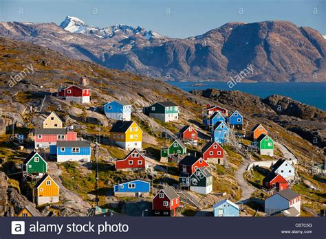 houses in greenland colourful houses in kangaamiut greenland stock photo royalty free image 41345180
