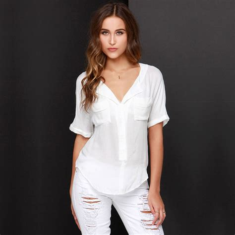Sleeve Blouses With Pockets by 21 Popular Womens White Blouse With Collar Sobatapk