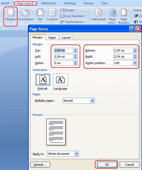 ukuran page layout untuk makalah mengatur margin halaman pada ms word 2007 computer