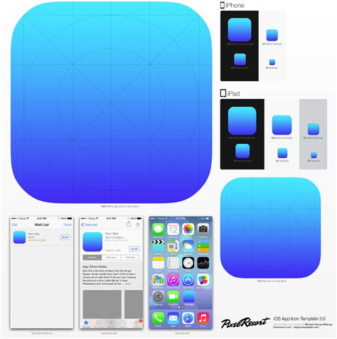 ux rave ios app icon template updated to ios7 this psd