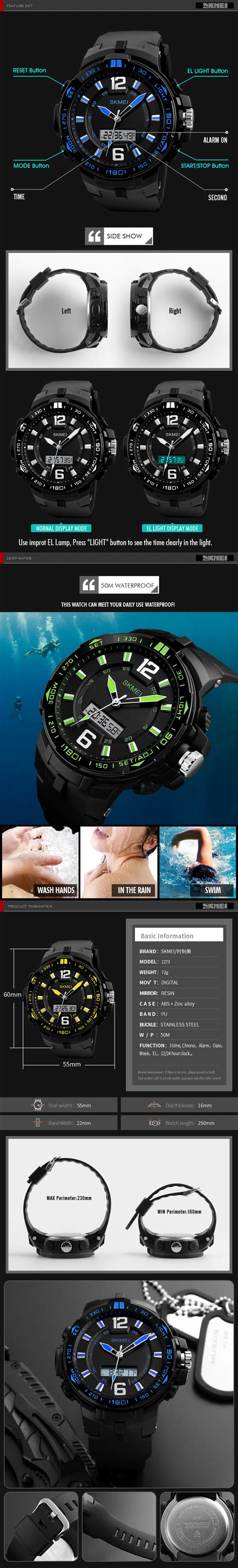 Skmei Smartwatch Wirstband Led D 21 Black skmei 1273 outdoor digital 50m waterproof multifunction fashionable led wristwatches
