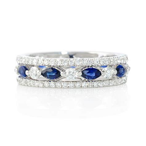 ct diamond  blue sapphire  white gold eternity ring