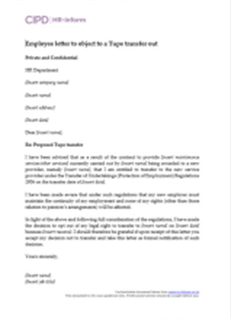 Letter To Employee Following Tupe Transfer Managing Tupe Hr Inform