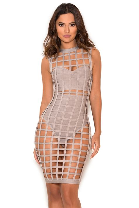 Cage Dress clothing bandage dresses thyda grey bandage cage