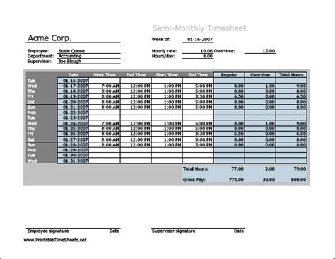 overtime timesheet template semi monthly timesheet horizontal orientation with