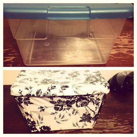 decorate plastic bin with self adhesive shelf paper i