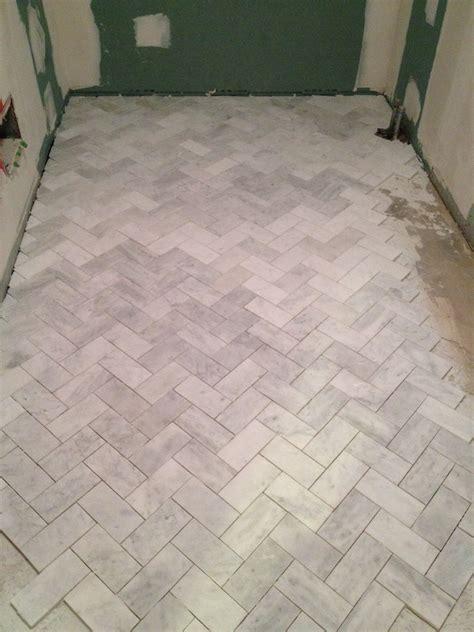herringbone bathroom floor tile hello lover hello guest bath reno