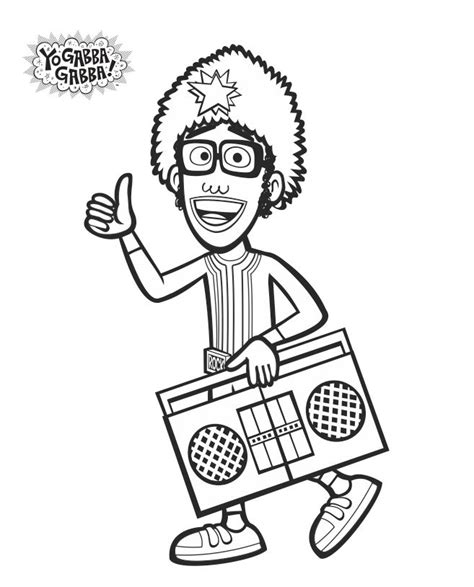 yo gabba gabba coloring pages free printable djlance coloring sheet yogabbagabba coloringsheet