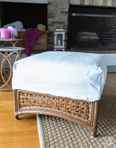 how to cover a ottoman ottoman slipcover with removable pom pom trim in my own