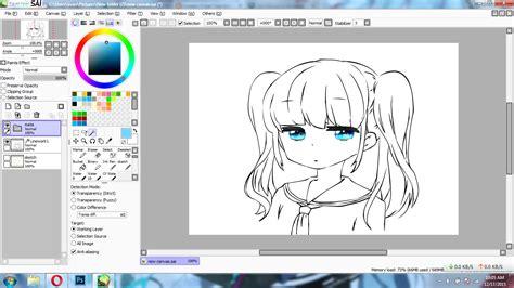tutorial gambar di paint tool sai tutorial paint tool sai cara mewarnai kulit anime cuma