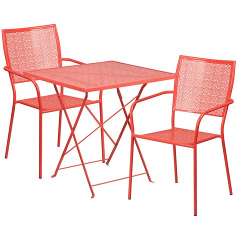 Folding Patio Table Set 28 Square Coral Indoor Outdoor Steel Folding Patio Table Set With 2 Square Back Chairs Co