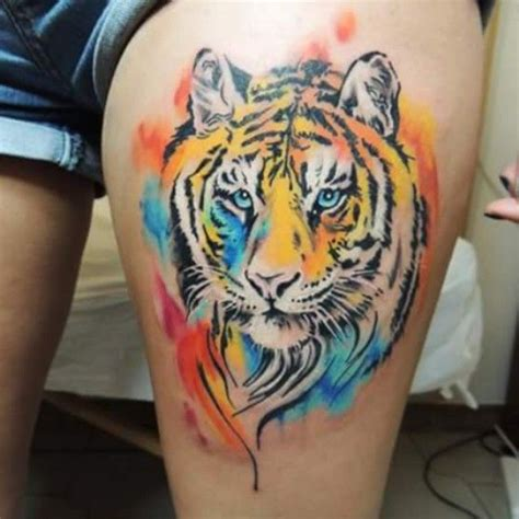 watercolor tiger tattoo watercolor tiger thigh by gianpitat inkspiration