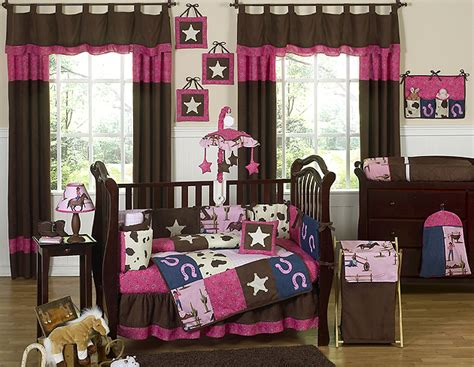 Pink And Brown Designer Horse Western Themed Cowgirl Baby Cowboy Themed Crib Bedding
