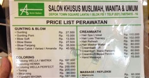 Catok Di Johnny Andrean noni halimi daftar harga treatment arini salon