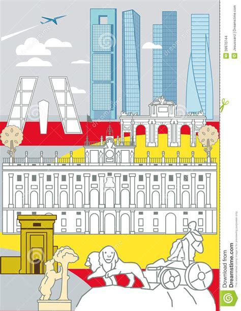 ufficio turismo madrid monumenti di madrid illustrazione vettoriale immagine di