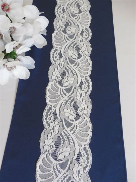 Navy Blue Table Runners Wedding by Wedding Table Runner Navy Blue With Lace Bridal Shower
