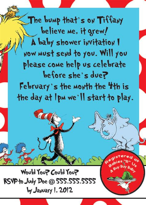 Dr Seuss Baby Shower Poems by Baby Shower Invitations Custom Dr Seuss Baby Shower