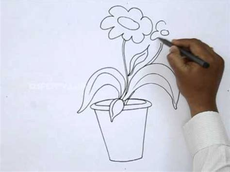 Cute Flower Pots by How To Draw A Flower Pot Youtube