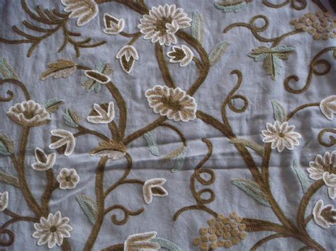 crewel upholstery fabric crewel fabric grapes sky blue cotton duck yardage