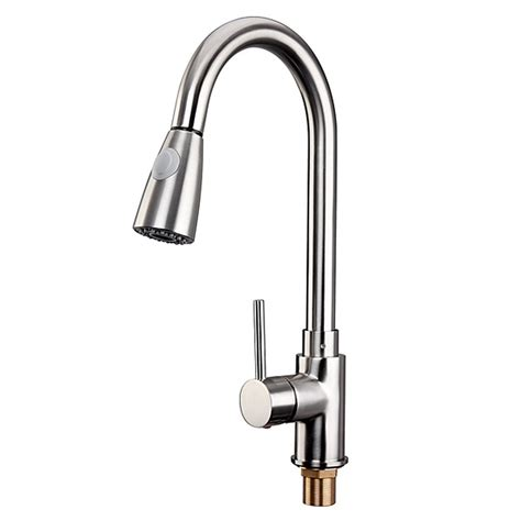Brushed Steel Kitchen Sink Brushed Steel Modern Pull Out Kitchen Sink Faucet Dual Spray Swivel Spout 11street Malaysia
