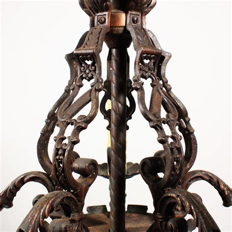 Cast Iron Lighting by Magnificent Antique Figural Five Light Chandelier Cast