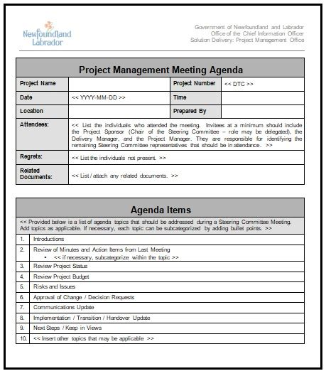 project management meeting agenda template ideal project management meeting agenda template ideal