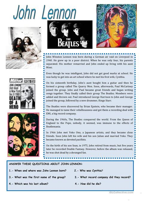 John Lennon Biography Worksheet | john lennon biography worksheet free esl printable