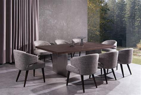 9 Pcs Dining Room Set Modrest Lexington Modern Brown Oak Dining Table