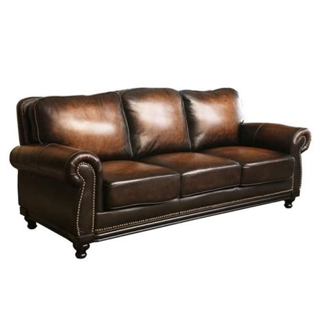 sofa row pemberly row leather sofa in espresso pr 490230