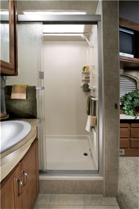 rv without bathroom view of the bathroom in a luxury class a motorhome monty