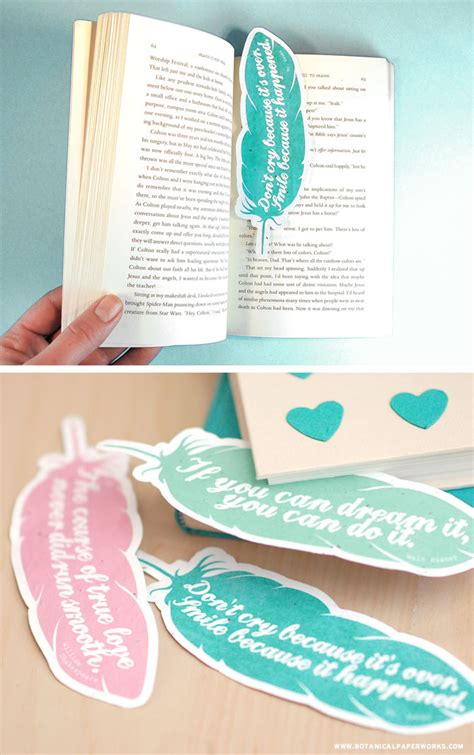 free printable feather quote bookmarks botanical paperworks