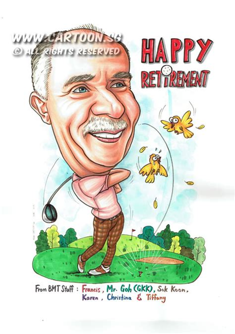 chagne celebration cartoon retirement gifts for golfers gift ftempo