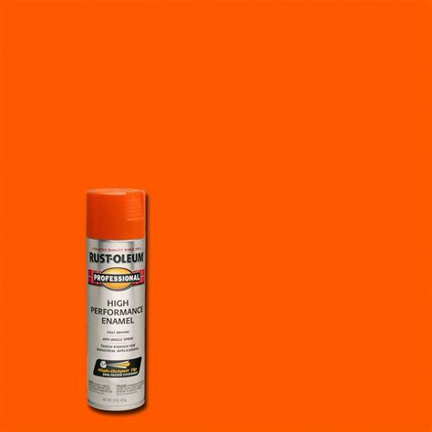 rust oleum professional 15 oz gloss safety orange spray paint of 6 7555838 the home depot