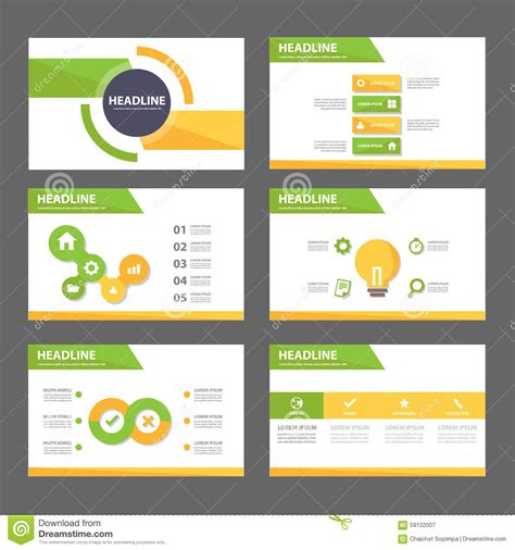 Green And Yellow Multipurpose Brochure Flyer Leaflet Website Template Flat Design Stock Vector Website Design Presentation Template