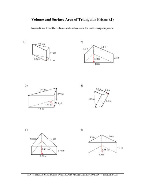volume of trapezoidal prism worksheet surface area of a