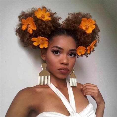 puff crown on short natural hair hair trend floral afro s