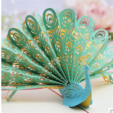 How To Make A 3d Peacock Out Of Paper - 3d greeting cards birthday cards peacock diy handmade