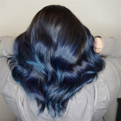 midnight black color 16 coolest blue black hair shades of 2019