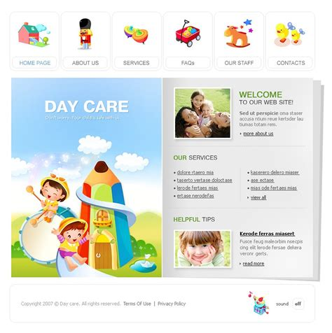 Day Care Flash Template 14470 Daycare Website Templates Free