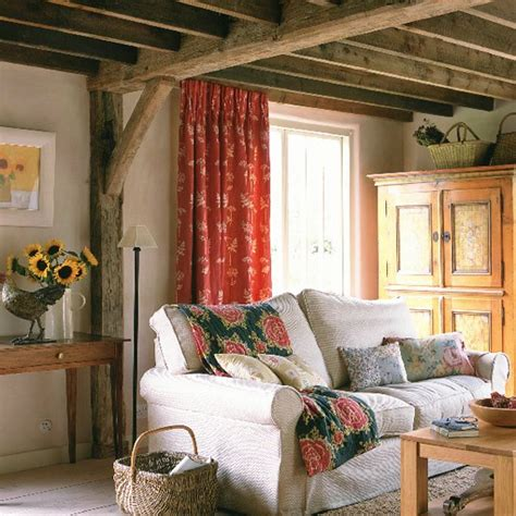 country living room curtains cream walls and exposed beams housetohome co uk