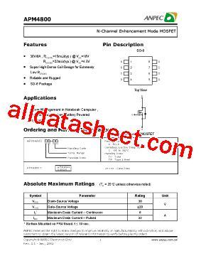 mosfet transistor tutorial pdf apm4800 datasheet pdf anpec electronics coropration