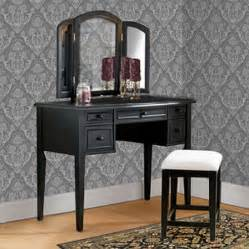3 vanity mirror and bench set antique black
