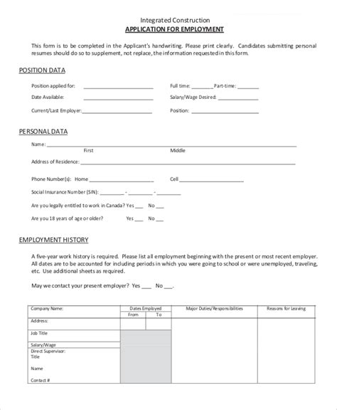 construction employment application template 9 sle employment applications sle templates